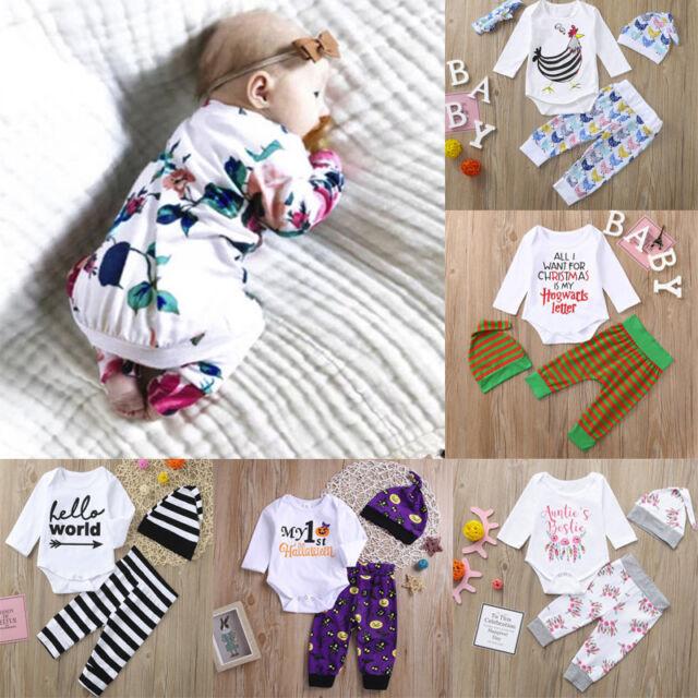 3cfa8c35d32d 3pcs Newborn Baby Girl Boy Tops T-shirt+Pant+Hat Toddler Clothes ...