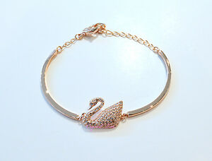 Image is loading Swarovski,Swan,Bangle,Rose,Gold,Bracelet,5142752,Authentic,