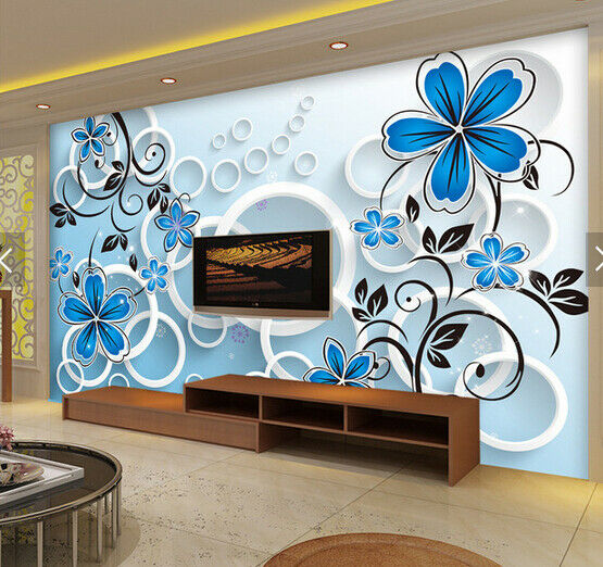 3D bluee Flowers 65 Wall Paper Wall Print Decal Deco Indoor Wall Mural CA
