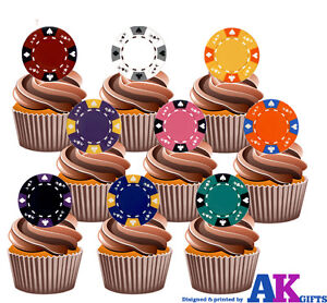 30-90 PRE-CUT EDIBLE WAFER CUP CAKE TOPPERS CASINO POKER CHIPS GAMING LAS VEGAS