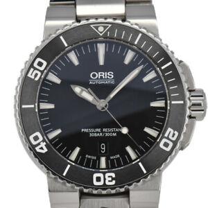 ORIS-Aquis-Date-733-7653-4154M-Stainless-Steel-Automatic-Men-039-s-Watch-T-94371