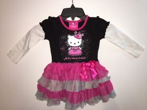 Hello kitty princess toddler dress size 2t long sleeve tiered