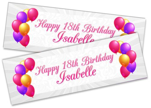 Details about  /x2 Personalised Birthday Banner Generic Children Kids Party Decoration 52