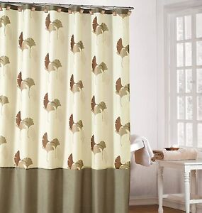 Charmant Image Is Loading Earthy Cream Color Fabric Shower Curtain With Brown