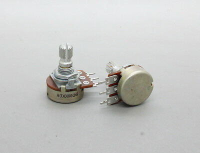 10 x 16mm B100K 100K Linear Taper Dual Potentiometer Knurled Shaft PC Mount