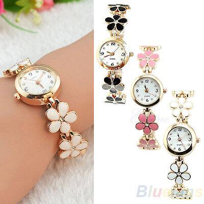 Women Girl Beauty Fashion Daisies Flower Rose Golden Bracelet Wrist Watch B47K