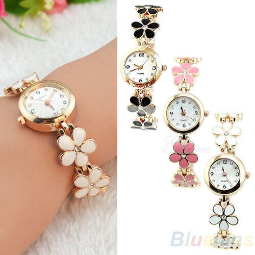 Womens Girls Graceful Daisies Flower Rose Style Golden Bracelet Wrist Watch B88U