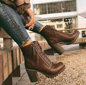Women/'s Lug Sole Chunky Heels Ankle Combat Boots