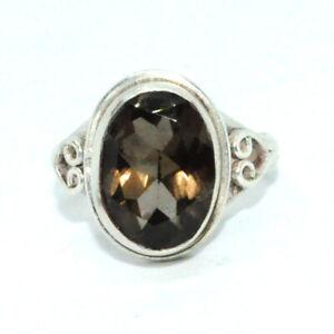 Sterling-Silber-traditionellen-asiatischen-Vintage-Style-Smoky-Quartz-Ring-Groesse-Q-Geschenk