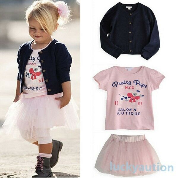 Girl Casual 3 PCS Set T-shirt+Coat+Skirt Outfit Baby TuTu Dress 0-5 Year Costume