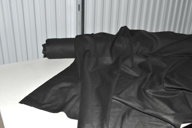 """Black Cotton Lawn Fabric 100% Cotton 53"""" Wide Fabric by the Yard"""