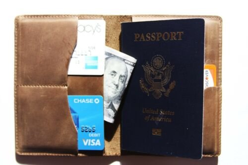CARD HOLDER 3 IN 1.Free USA shipping! REAL LEATHER PASSPORT HOLDER ID HOLDER