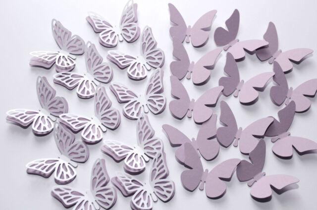 16  Set 3D Schmetterlinge hell Lila Wandtattoo Wanddeko