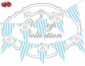 Vintage-Coral-Happy-Birthday-Candy-Blue-amp-White-Stripes-Bunting-Banner-15-flags