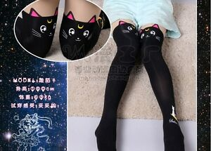 c69cbdae6ec Cute Sailor Moon Cat Luna Stockings Socks Pantyhose Anime Cosplay ...