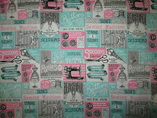 VINTAGE SEWING ITEMS MACHINES SCISSORS MORE TEAL PINK COTTON FABRIC BTHY