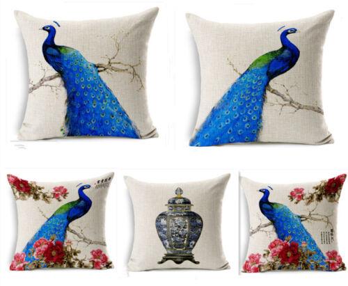 Cartoon Peacock Dog Cotton Linen Pillow Case Sofa Throw Cushion Cover Home Decor