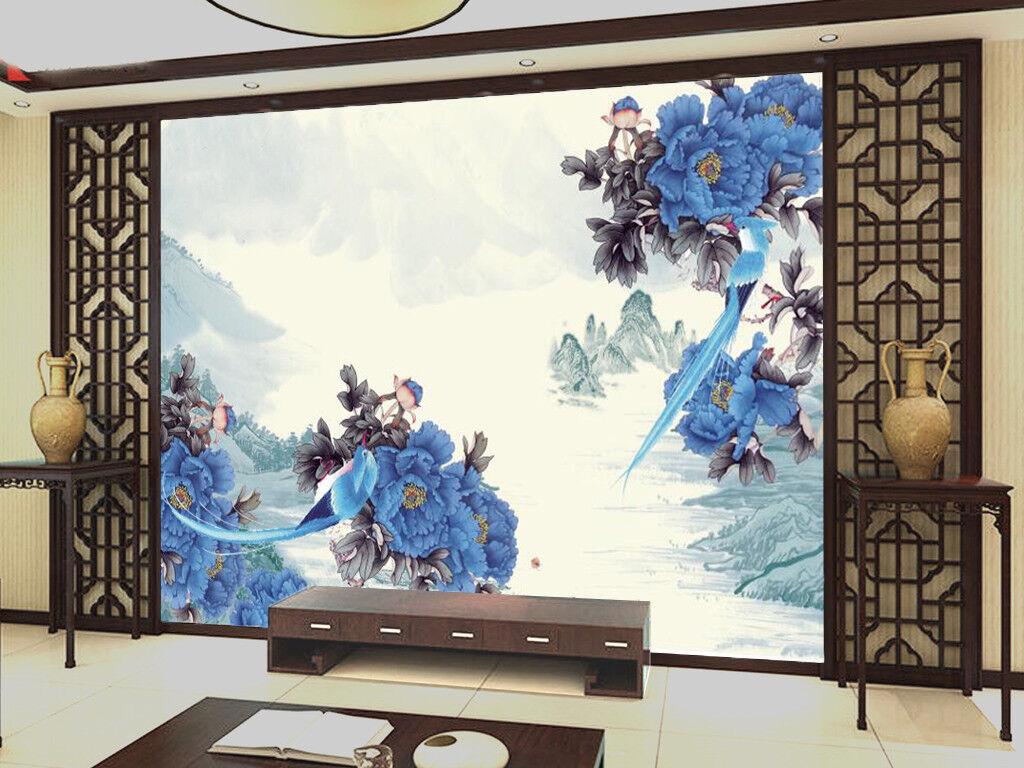 3D blue bluemen Berg 7863 Tapete Wandgemälde Tapeten Bild Familie DE Kyra