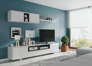Parete Attrezzata Mobile Tv Base Sala Da Pranzo Swiss Bianco Salotto Soggiorno Ebay