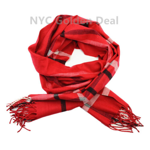 New 100/% CASHMERE Scarf Made in Scotland Plaid Design Color Red Super Soft