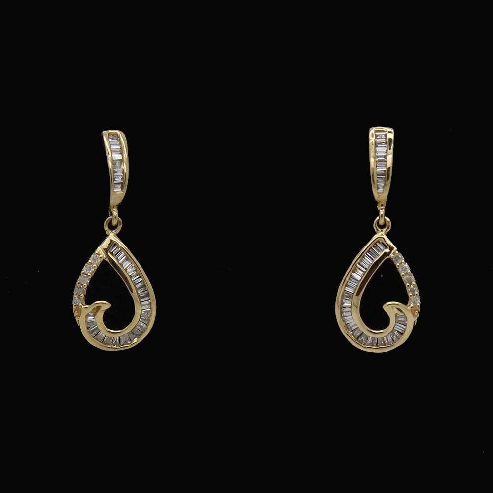 0.28 Ct Round & Baguette Shape Natural Diamond 14K Yellow gold Dangle Earrings