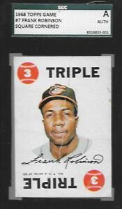 SQUARE-CORNERED-FRANK-ROBINSON-HOF-BASEBALL-CARD-1968-TOPPS-GAME-7-SGC-AUTH-ABC