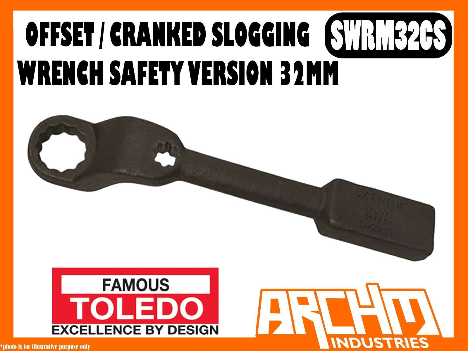 TOLEDO SWRM32CS - OFFSET   CRANKED SLOGGING WRENCH SAFETY VERSION - 32MM METRIC