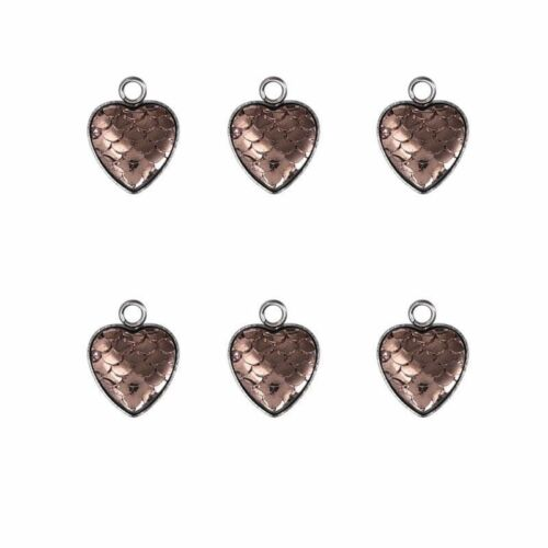 Lovely Fish Scale Mermaid Heart Shape Charms Pendant DIY Crafts Jewelry 5pcs