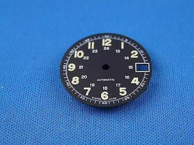 Blank Black Wrist Watch Dial -Automatic- 26mm  -Swiss Made- Night Glow Num  #212