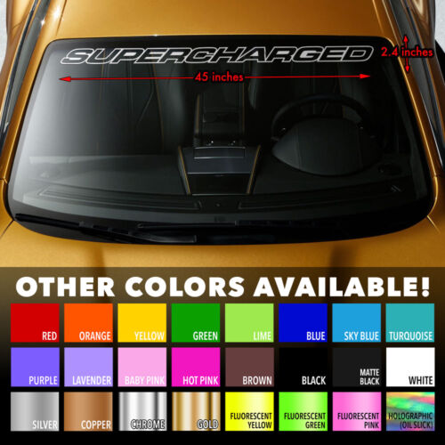 SUPERCHARGED V8 MUSCLE CAR Premium Windshield Banner Vinyl Decal Sticker 45x2.4/""
