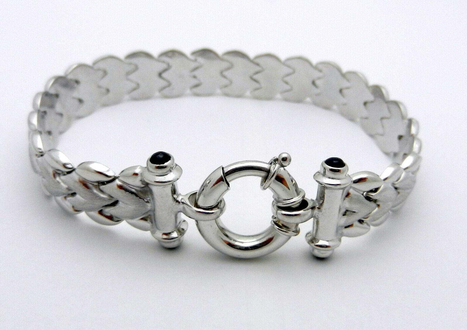 Hollow 14k White gold Cabochon Sapphire Ladies Wide Bracelet 7.5  15.2 grams