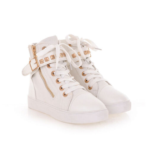 Women/'s Rivets Flat Canvas Sneakers Casual Lace Up High Top Zip Athletic Shoes