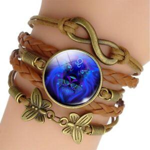 12 Zodiac Signe Bracelet En Cuir Tressé Wrap Bracelets Poignet Femmes Hommes Brassard-afficher Le Titre D'origine Saveur Aromatique