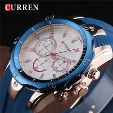 CURREN Mens Wrist Watch Military Army Sport Business Rose Gold Blue Rubber Band