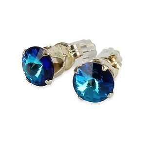 Sterling-Silver-6mm-Sapphire-Blue-Stud-Earrings-Made-With-Crystal-From-SWAROVSKI