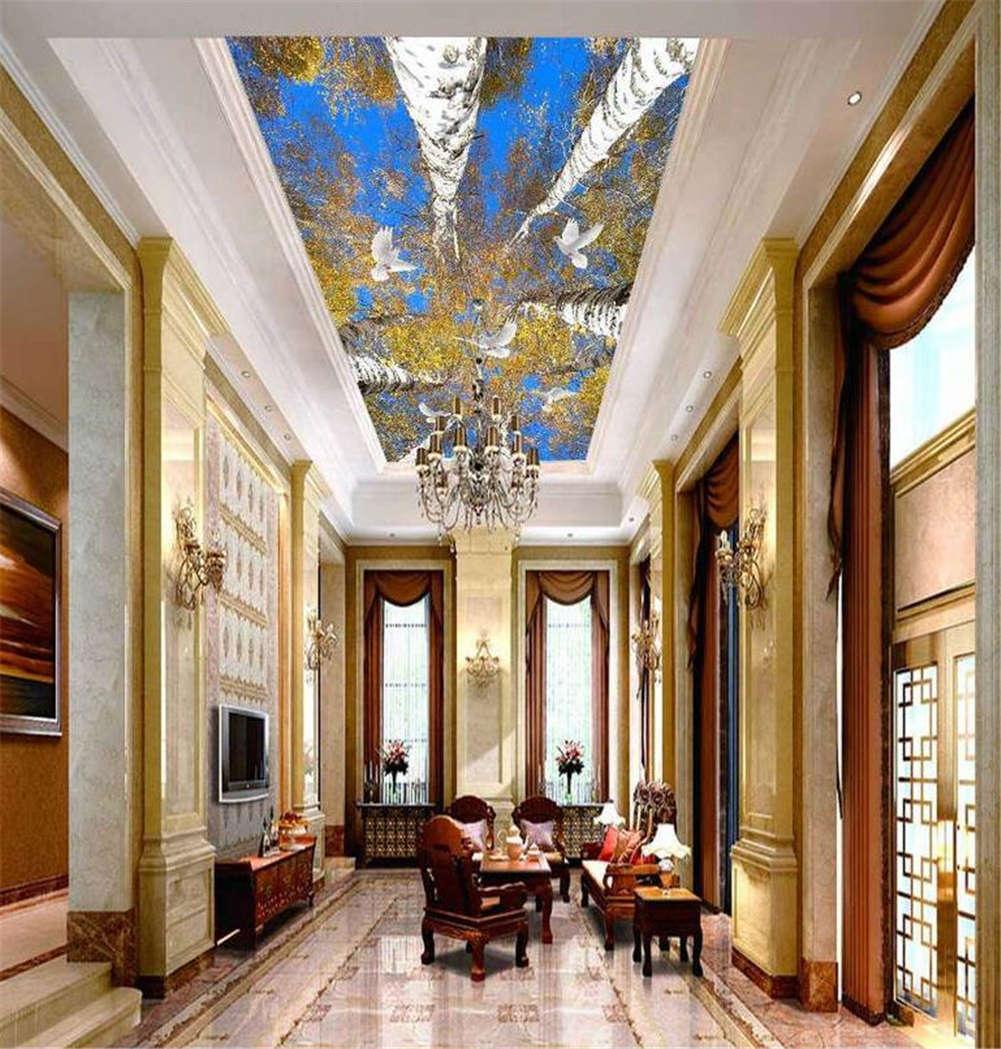 Azure Tall Trunk 3D Ceiling Mural Full Wall Photo Wallpaper Print Home Decor