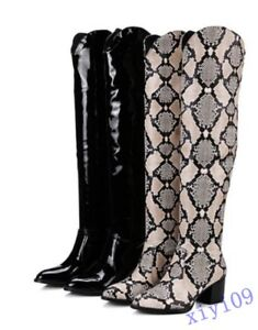 Fashion-Womens-Boots-Knee-High-Block-Boots-Patent-Leather-Shoes-snakeskin-Casual