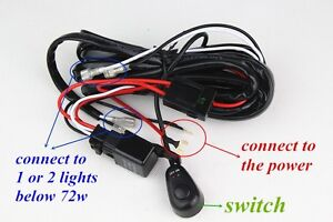 x wiring harness kit led light bar wire switch offroad atv jeep image is loading 1x wiring harness kit led light bar wire