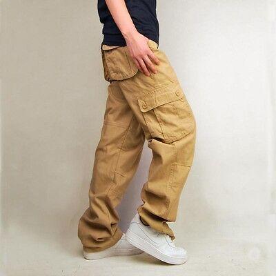 Men's Cotton Combat Pockets Work Trousers Solid Utility Casual Cargo Pants Plus
