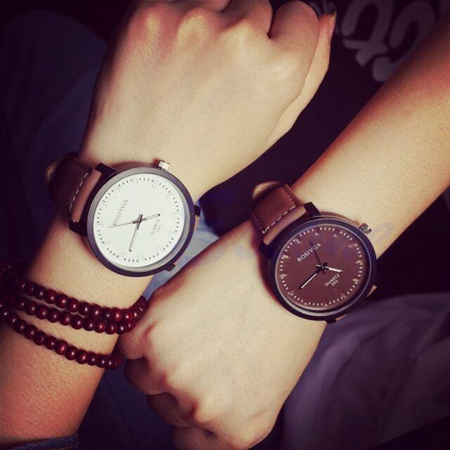 Fashion Women Men Faux Leather Strap Round Steel Case Quartz Couple Wrist Watch