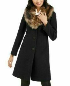 438-New-KATE-SPADE-Women-Black-Faux-Fur-Trim-Winter-Coat-Jacket-Size-M