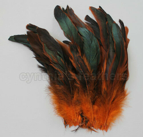 "pcs. 16g 8-10/"" half bronze orange schlappen coque rooster tail feathers 80"