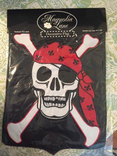 New Magnolia Lane Garden Flag Emboidered Skull and Crossbones Pirate