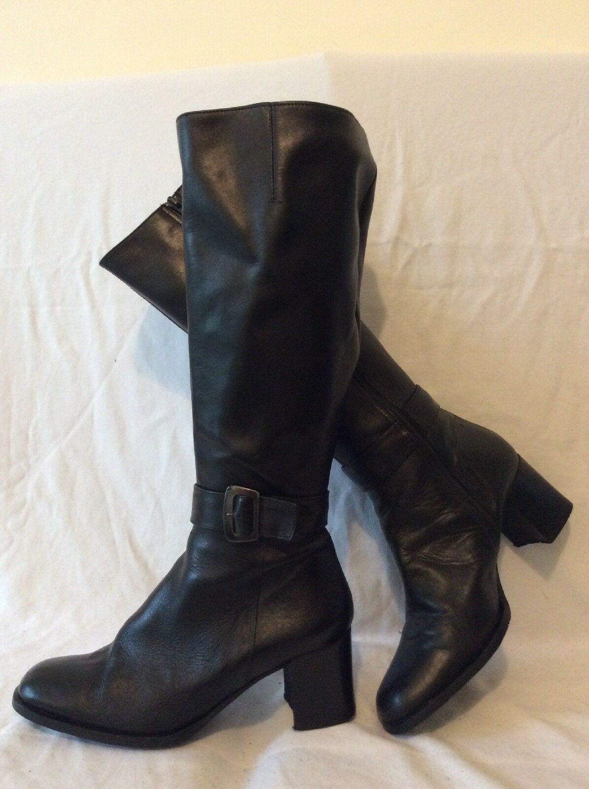 Barbara Dossi Black Knee High Leather Boots Size 38