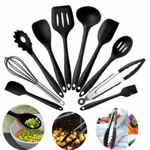 10PC-BLACK-KITCHEN-UTENSILS-COOKING-NON-STICK-BAKING-TOOL-SILICON-HEAT-RESISTANT