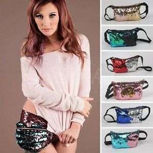 Image is loading Reversible-Mermaid-Sequin-Glitter-Waist-Fanny-Pack-Belt- decca00d8fd5