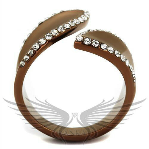 Details about  /Brilliant Brown Top Grade Crystals Coffee Ion Plated Fashion Ring TK2691