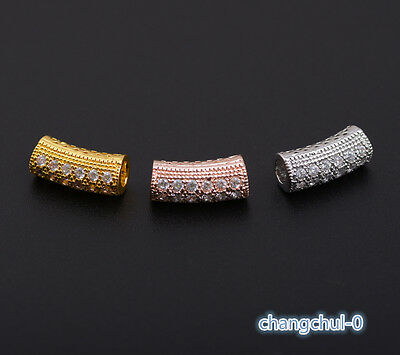 Zircon Micro Pave Tube Bracelet Charm Spacer Beads Silver Gold Rose Gold  WX008