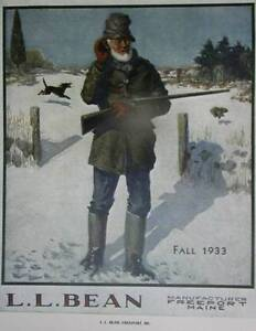 a02795fb77 L L Bean Fall 1933 Maine Hunter Rifle Dog Rabbit ad Vintage poster ...