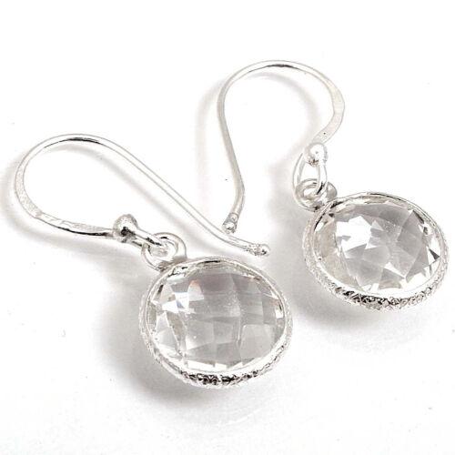 EDH 925 Solid Sterling Silver Crystal Quartz Gemstone brignolette Boucles d/'oreilles C-2500